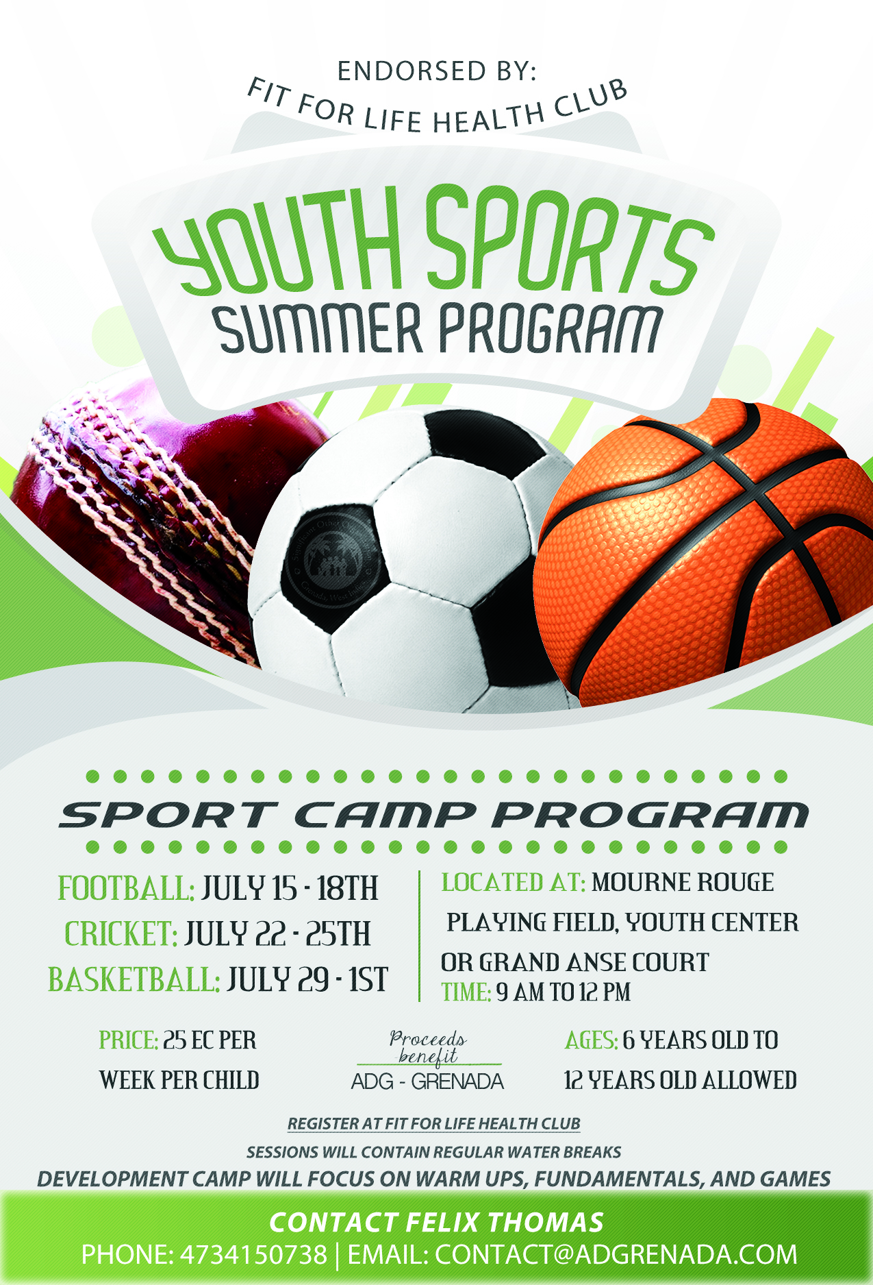 Adg grenada youth development program athletic for Sports program template free